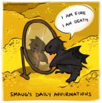 black_dragon black_scales chibi crown cute dragon english_text feral ginnabean glowing goblet gold humor j._r._r._tolkien mirror red_eyes smaug solo text text_bubble the_hobbit wings   Rating: Safe  Score: 23  User: Fauxgirl  Date: January 21, 2014