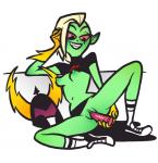 2015 armor biped black_eyes blonde_hair breasts clitoris clothing clothing_aside delidah digital_drawing_(artwork) digital_media_(artwork) dildo eyelashes fangs female footwear front_view full-length_portrait gloves green_body green_nipples green_pussy hair half-closed_eyes hand_on_head helmet holding_object holding_sex_toy humanoid humanoid_hands legwear looking_pleasured lord_dominator lying masturbation nipples no_underwear not_furry on_side penetration pointy_ears portrait pussy raised_shirt reclining red_sclera sex_toy shirt shoes short_hair simple_background skirt slim small_breasts small_waist smile sneakers socks solo spread_legs spreading toying_self undercut vaginal vaginal_masturbation vaginal_penetration voluptuous wander_over_yonder white_backgroundRating: ExplicitScore: 0User: facelessmessDate: September 26, 2017