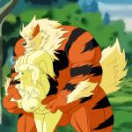 arcanine breast_grab breasts canine duo female fire_type fox from_behind male male/female mammal mixuge muscles ninetales nintendo pokémon video_games   Rating: Explicit  Score: 3  User: Arcaninephilia  Date: April 09, 2015
