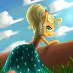 2014 apple applejack_(mlp) blonde_hair clothed clothing cloud dress eating equine female friendship_is_magic fruit fur grass green_eyes hair horse luciferamon mammal my_little_pony orange_fur outside pony sky solo   Rating: Safe  Score: 6  User: anthroking  Date: February 08, 2014