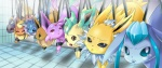 ambiguous_gender bound canine eevee eeveelution espeon feral glaceon group jolteon leafeon malamin mammal nintendo pokémon smile tears umbreon vaporeon video_games