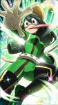 5_fingers amphibian animal_humanoid asui_tsuyu belt black_eyes black_hair clothing eyewear female frog_humanoid front_view gloves goggles hair hair_rings hat headwear hi_res humanoid legwear long_hair long_tongue looking_at_viewer looking_down low-angle_view mask my_hero_academia no_pupils official_art open_mouth pink_tongue solo superhero swimfin tongue tongue_out unknown_artist
