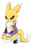 black_nose black_sclera blue_eyes chest_tuft chibi claws crouching digimon facial_markings fur gloves looking_at_viewer markings renamon terrors tuft   Rating: Safe  Score: 2  User: ChestFox  Date: March 20, 2014