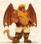 anthro belly belt biceps blonde_hair body_hair boots chest_tuft chubby clothed clothing dragon fangs fingerless_gloves fur gloves hair hairy half-dressed happy_trail horn male musclegut muscles nipple_piercing nipples pecs piercing pose shorts solo teeth tongue tongue_out topless tuft vetrowolf wings wrestler   Rating: Safe  Score: 10  User: unforget  Date: March 03, 2014