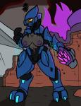 2018 2_toes 4_fingers alien angry anthro breasts clothing exposure female halo_(series) nipples sangheili toes torn_clothing trout_(artist) video_games weapon