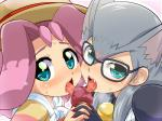 animal_humanoid bell blush cathy_(yu-gi-oh_zexal) censored clothing collaborative_fellatio digital_media_(artwork) dog_(yu-gi-oh_zexal) erection eyebrows eyewear fangs fellatio female glans glasses gloves green_eyes group group_sex hair hat human humanoid konpeto licking long_hair looking_at_viewer mammal multicolored_hair multiple_fellatio nails open_mouth oral penis pink_background pink_hair sex silver_hair simple_background sweat teamwork teeth threesome tongue tongue_out two_tone_hair white_sclera yu-gi-oh yu-gi-oh_zexal  Rating: Explicit Score: 2 User: DirtyRatMatt Date: April 25, 2016