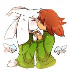 2016 ambiguous_gender anthro asriel_dreemurr blush caprine chara_(undertale) clothing duo goat hand_holding hi_res horn human joycall3 kissing male mammal undertale video_games