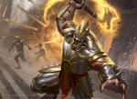 armor axe bovine charging city cityscape destruction dutch_angle explosion fire fleeing group holding_weapon horn human james_ryman magic_the_gathering male mammal melee_weapon minotaur official_art roaring soldier weapon  Rating: Safe Score: 1 User: Circeus Date: February 10, 2015
