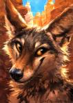 2015 abstract_background ambiguous_gender anthro black_lips black_nose brown_eyes brown_fur canine canyon coyote dark_fur day fur headshot_portrait inner_ear_fluff kenket long_mouth mammal no_sclera orange_eyes outside painting portrait simple_background sky smile snout solo whiskers white_fur  Rating: Safe Score: 31 User: TheGreatWolfgang Date: August 16, 2015