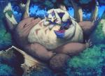 2017 anthro brown_fur canine detailed_background duo eyes_closed falvie forest fur ghibli grass leaves male mammal multicolored_fur my_neighbor_totoro nude size_difference sleeping totoro tree whiskers white_fur wolfRating: SafeScore: 17User: Asmail_RutherfordDate: April 30, 2017