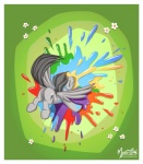 alternate_color butt cutie_mark digital_media_(artwork) equine eyes_closed feathered_wings feathers female feral flower friendship_is_magic grass grey_feathers grey_hair hair mammal my_little_pony mysticalpha pegasus plant rainbow rainbow_dash_(mlp) solo splash wings