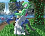 2010 anthro black_fur blue_fur cave cloud female fur gardevoir grass green_hair green_skin group hair hi_res leaves lucario luvdisc male mountain mykiio nintendo outside pokémon red_eyes red_skin sky swing tree video_games water waterfall white_skin yellow_fur   Rating: Safe  Score: 0  User: GameManiac  Date: March 30, 2015