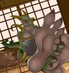 5_toes anthro barefoot beverage big_breasts book breasts claws cleavage clothed clothing dress drink female first_person_view food foot_focus hindpaw huge_breasts japanese_text leaves nintendo paws pokémon pokémorph red_eyes reptile scalie serperior smile smirk snake soles solo tea text toes video_games zp92  Rating: Safe Score: 35 User: PileOfBees Date: July 09, 2014