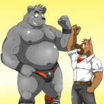 anthro bear biceps big_muscles bulge canine chubby clothed clothing dog duo half-dressed male mammal muscles nipples overweight pecs scar shiba-kenta topless   Rating: Safe  Score: 6  User: Hardstyle_Chris  Date: April 25, 2013
