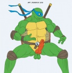 2015 3_fingers anthro balls bandanna belt biceps cromofox_(artist) erection fighting_stance green_skin hybrid_penis katana leonardo_(tmnt) male mask melee_weapon muscular muscular_male nude pads penis pose reptile scalie shell simple_background solo standing sword teenage_mutant_ninja_turtles turtle weapon white_background  Rating: Explicit Score: -1 User: abcxyz123 Date: November 05, 2015