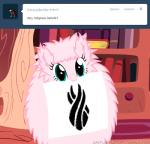 blue_eyes crossover dead_space english_text equine female fluffle_puff fluffy friendship_is_magic fur hair horse mammal mixermike622 mouth_hold my_little_pony pink_fur pink_hair pony solo text tumblr   Rating: Safe  Score: 8  User: anthroking  Date: February 14, 2014