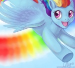 equine female feral friendship_is_magic hair magpie_(artist) mammal multicolored_hair my_little_pony pegasus rainbow_dash_(mlp) rainbow_hair smile solo sonic_rainboom wings   Rating: Safe  Score: 7  User: Andrei_Denisov  Date: March 17, 2012
