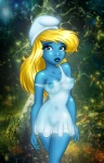 blonde_hair blue_eyes breasts clothing colorful curve enigmawing female hair hat humanoid long_hair looking_at_viewer navel nipples outside smurf smurfette solo the_smurfs translucent transparent_clothing  Rating: Questionable Score: 13 User: Munkelzahn Date: August 07, 2011