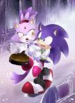 anthro apron blaze_the_cat blue_fur blush cat cooking couple duo fangs feline female fur hedgehog male mammal slippers sonic_(series) sonic_the_hedgehog unichrome-uni_(artist)  Rating: Safe Score: 7 User: Rad_Dudesman Date: October 07, 2014