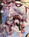 blue_eyes blush canine digital_media_(artwork) duo ear_piercing feline hokousha leopard male male/male mammal opalance piercing red_wolf smile snow_leopard standing toddhunter wolfRating: SafeScore: 5User: thunter8013Date: January 08, 2018