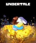2015 asriel_dreemurr black_background brown_hair caprine clothing crying flower goat hair human long_ears mammal milkybee_(artist) monster plant protagonist_(undertale) simple_background tears text undertale  Rating: Safe Score: 5 User: SpectralDreams Date: October 07, 2015