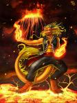 2014 anthro azsola digital_media_(artwork) dragon drake_(disambiguation) eastern_dragon ember eruption fire hi_res lava magic magic_user male orange_scales pose scales scalie smoke solo spell volcano whiskers  Rating: Safe Score: 7 User: denalwolf Date: November 03, 2014