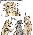 2016 ambiguous_gender anthro blackteagan blue_eyes canine dialogue dog feline female feral fur green_eyes group lion mammal raccoon tan_fur  Rating: Safe Score: 4 User: TonyLemur Date: February 02, 2016