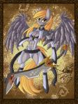 2015 anthro armor blonde_hair breasts clothed clothing convincing_weapon derpy_hooves_(mlp) equine feathers female friendship_is_magic fur grey_feathers grey_fur grey_skin hair looking_at_viewer mammal melee_weapon my_little_pony pegasus raptor007 skimpy smile solo sword unconvincing_armor weapon wings yellow_eyes yellow_fur  Rating: Safe Score: 4 User: GameManiac Date: July 13, 2015