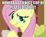 2014 cup english_text equine female feral fluttershy_(mlp) friendship_is_magic green_eyes hair holding_cup horse looking_at_viewer low_res mammal meme my_little_pony pink_hair pony reaction_image smile solo text unknown_artist