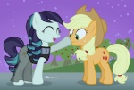 2015 applejack_(mlp) blonde_hair boop clothing coloratura_(mlp) cute cutie_mark dm29 dress duo earth_pony equine female friendship_is_magic fur hair horse long_hair mammal multicolored_hair my_little_pony open_mouth pony scrunchy_face smile two_tone_hair  Rating: Safe Score: 8 User: 2DUK Date: November 23, 2015
