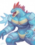 2014 4_fingers abs angry anthro armor biceps big_pecs biped blue_claws blue_skin blue_tail chest_markings claws countershade_face crocodilian digital_media_(artwork) featureless_crotch feraligatr front_view gaping_mouth huge_muscles humanoid_hands long_tail looking_away male manly markings multicolored_skin muscular muscular_male naturally_censored nintendo nude open_mouth pecs pokémon portrait quads raccoon21 red_eyes red_spines red_tongue reptile scalie sharp_teeth shiny signature simple_background snout soft_shading solo spines standing tan_countershading tan_markings tan_skin teeth three-quarter_portrait tongue two_tone_skin video_gamesRating: SafeScore: 4User: Cat-in-FlightDate: May 08, 2017