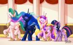2015 equine eyes_closed female feral friendship_is_magic group horn looking_at_viewer mammal my_little_pony mysticalpha princess_cadance_(mlp) princess_celestia_(mlp) princess_luna_(mlp) twilight_sparkle_(mlp) winged_unicorn wings  Rating: Safe Score: 22 User: Robinebra Date: November 20, 2015