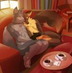 animal_genitalia anthro balls beverage black_fur black_nose brown_fur brown_nose canine coffee coffee_(character) collar cuddling dog duo eyes_closed food fox fully_sheathed fur grey_fur hi_res high-angle_view husky javkiller kave male male/male mammal multicolored_fur nude romantic romantic_couple sheath smile two_tone_fur yellow_fur  Rating: Explicit Score: 18 User: foxrump Date: January 08, 2015