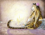 2013 candle chain feline female fire flower hair leopard long_hair nude palelady sitting solo   Rating: Safe  Score: 34  User: ippiki_ookami  Date: September 22, 2013