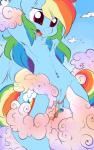 arms_above_head blue_feathers blue_fur cloud cum cutie_mark drooling equine feathers female feral friendship_is_magic fur hair horse mammal multicolored_hair my_little_pony navel navel_piercing open_mouth pegasus piercing pony pubes pussy rainbow_dash_(mlp) rainbow_fur rainbow_hair rainbowscreen saliva teeth tongue wings  Rating: Explicit Score: 37 User: EmoCat Date: March 07, 2015