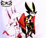 angel_dust anthro carrying claws clothed clothing crossover demon duo eyes_closed fangs female fur hazbin_hotel hi_res husk husk_(hazbin_hotel) knightmoonlight98 male mammal marvel mask multi_arm multi_limb simple_background smile suit white_background white_body white_fur wolverine_(marvel)