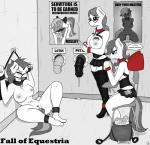 2014 animal_genitalia anthro anthrofied bag ball_gag big_breasts black_and_white_and_red blindfold bottle breasts chain clothing collar comic corset cum desk dialogue digital_media_(artwork) dildo dripping english_text equine eyes_closed eyewear fall_of_equestria fan_character female forced gag glasses glory_hole group hi_res horse horsecock legwear mammal miniskirt monochrome my_little_pony nude pegasus penis pony poprocks_(oc) poster remote replica_(artist) sex_toy shackles sibling sisters skirt slave spot_color stockings tag text vibrator wings xxx  Rating: Explicit Score: 10 User: 2DUK Date: August 24, 2014