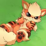 ambiguous_gender arcanine barefoot black_eyes blush canine cute feral fur grass huiro looking_at_viewer lying mammal nintendo outside pawpads paws pokémon smile solo teeth video_games young  Rating: Safe Score: 6 User: N7 Date: May 26, 2015