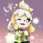 animal_crossing anthro black_nose blonde_hair canine clothing dog female fur hair hair_ornament isabelle_(animal_crossing) japanese_text mammal nintendo one_eye_closed short_hair solo text uniform unknown_artist video_games white_fur wink yellow_fur  Rating: Safe Score: 2 User: Cαnε751 Date: November 09, 2015