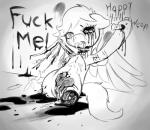 2013 amputee black_and_white blood cum cum_in_eye cum_inside dead_eyes death digital_drawing_(artwork) digital_media_(artwork) disembowelment english_text equine fearingfun female feral gore grotesque_death horse looking_at_viewer mammal missing_eye monochrome my_little_pony nail pegasus pony pussy sitting solo text wings   Rating: Explicit  Score: 7  User: Sofi  Date: October 09, 2013