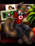 2010 anthro blush canada canadian clothing computer green_eyes headphones inuki keyboard_(computer) looking_at_viewer male mammal maple_leaf raccoon shirt shorts sitting solo teeth   Rating: Safe  Score: 4  User: Riversyde  Date: May 23, 2010