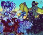 2015 anthro areola avian beak black_fur black_nose blue_eyes blue_fur blue_hair breasts brown_eyes brown_fur canine chest_tuft cunnilingus dragon ear_piercing eyes_closed feline female female/female fondling fur green_eyes grope group group_sex hair horn looking_back mammal masturbation nipple_piercing nipples niuxii oral piercing pool purple_hair pussy red_fur scalie sex sky spread_wings stripes sunset tongue tongue_out tuft vaginal water white_nose wings yellow_eyes   Rating: Explicit  Score: 4  User: Just_Another_Dragon  Date: March 30, 2015