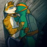 anthro belt brown_fur dexter_mason eyes_closed feline fur gay green_skin grope interspecies kissing male mask michelangelo_(tmnt) mutant nipples pads pose reptile scales scalie sneefee teenage_mutant_ninja_turtles topless turtle   Rating: Questionable  Score: 13  User: Pokelova  Date: November 27, 2013
