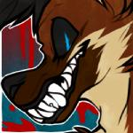 ambiguous_gender baroque black_hair black_nose black_sclera blood blue_eyes brown_fur canine fur grin hair icon low_res mammal maned_wolf octonnibal sharp_teeth smile solo teeth