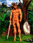 abs axe balls biceps bovine equine forest hair horn human joelglaine male mammal melee_weapon minotaur muscles nature nipples nude outside pecs penis shield solo sword tree weapon  Rating: Explicit Score: 3 User: fanofweebl2 Date: April 07, 2013