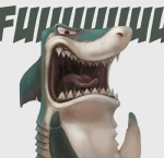 ambiguous_gender angry dental_floss fangs fin fish humor mammal marine meme open_mouth shark silverfox5213 solo teeth tongue yelling