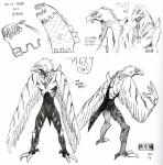 alien ambiguous_gender anime anthro atomsk avian beak bird black_and_white duo feathers fooly_cooly hi_res markings model_sheet monochrome official_art simple_background text white_background  Rating: Safe Score: 2 User: e17en Date: March 25, 2016