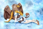 anthro avian blue_eyes bulge claws clothing collaboration crossdressing digitigrade feathers garter_belt girly gryphon legwear lingerie male nelena panties pinup pose solo thigh_highs underwear wings wolfgryph  Rating: Questionable Score: 7 User: HoboAssassin Date: August 15, 2015