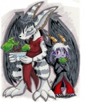 anthro big_ears black_hair blue_eyes bonsai buwaro_elexion claws clothing demon duo ear_piercing feathers female fur hair horn looking_at_viewer male mammal piercing plant purple_fur sakido_elexion sibling slightly_damned solo stripes the-chu tree webcomic white_fur white_hair wings  Rating: Safe Score: 5 User: Wolfdude91 Date: February 09, 2016