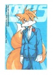 anthro anthrofied black_tie_(suit) canid canine clothed clothing dm_eikyuu fox fully_clothed male mammal miles_prower multi_tail scan solo sonic_the_hedgehog_(series) suit video_games